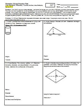 Geometry Group Practice Test area geometric prob vol surface area Spring 2013