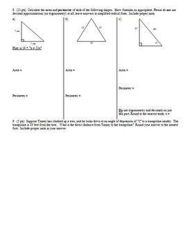 Geometry Group Practice Test area geometric prob vol surface area Spring 2014