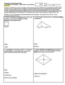 Geometry Group Practice Test area geometric prob vol surface area Spring 2014