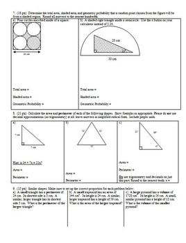 Geometry Group/Practice Test Area Geometric Probability Volume Spring 2012