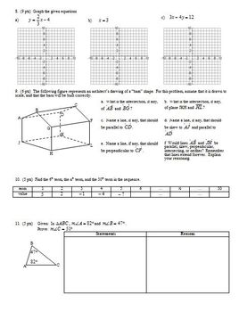 Geometry Group/Practice Test: Lines Fall 2008 (Editable)