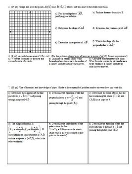 Geometry Group/Practice Test: Lines Fall 2010 (Editable)