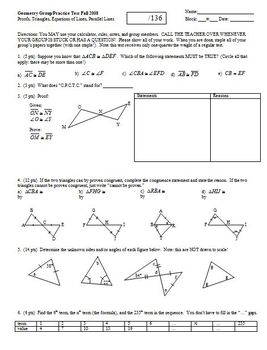 Geometry Group/Practice Test: Proofs, Triangles, Equations