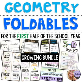 Geometry - Growing Foldable Bundle for the First Half of the Year - 30 Foldables