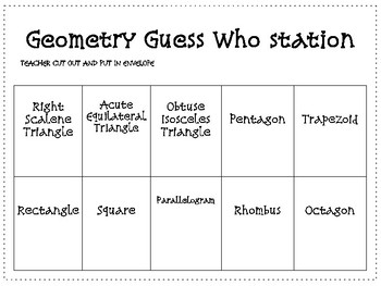 Geometry Guess Who Station