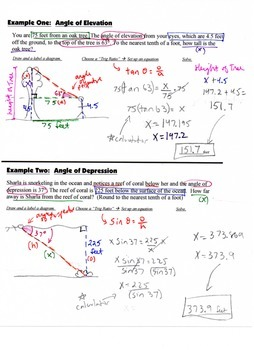 Geometry Guided Interactive Math Notebook Page: Trigonometry Angles of Elevation