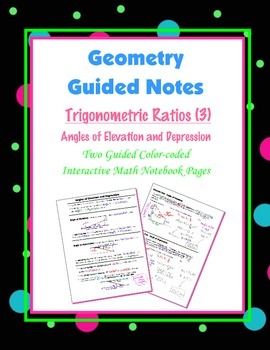 Geometry Guided Interactive Math Notebook Page: Trigonomet