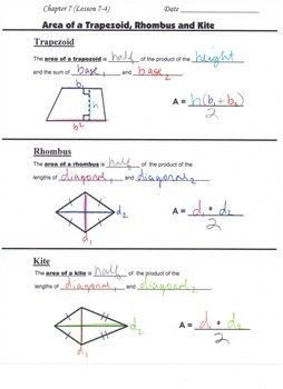 Geometry Guided Interactive Math Notebook Page: Area Formulas of Plane Figures