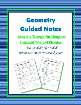 Geometry Guided Interactive Math Notebook Page: Area Formu