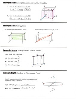 Geometry Guided Interactive Math Notebook Page: Basic Terms and Postulates