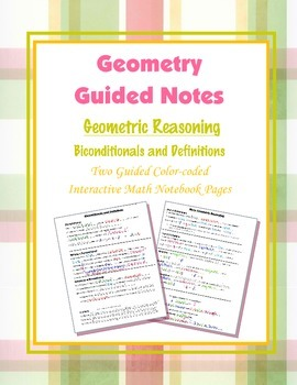 Geometry Guided Interactive Math Notebook Page: Bicondtionals & Definitions