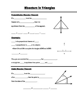 Geometry Guided Interactive Math Notebook Page: Bisectors in Triangles