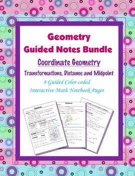 Geometry Guided Interactive Math Notebook Page (Bundle): Coordinate Geometry