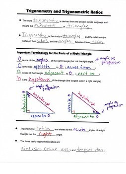 Geometry Guided Interactive Math Notebook Page (Bundle): Right Triangles