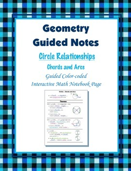 Geometry Guided Interactive Math Notebook Page: Circles: Chords and Arcs