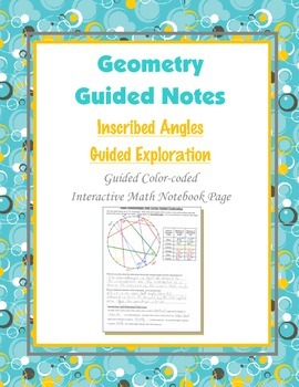 Geometry Guided Interactive Math Notebook Page: Circles: A