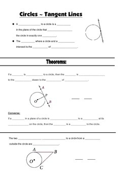 Geometry Guided Interactive Math Notebook Page: Circles: Tangent Lines