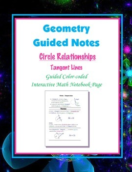 Geometry Guided Interactive Math Notebook Page: Circles: T
