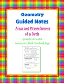 Geometry Guided Interactive Math Notebook Page: Area & Circumference of Circles