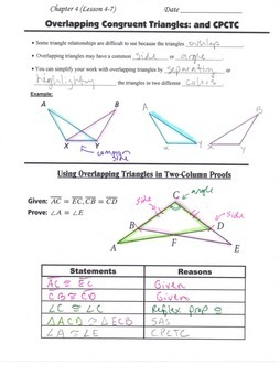 Geometry Guided Interactive Math Notebook Page: Congruent Triangles, (CPCTC #2)