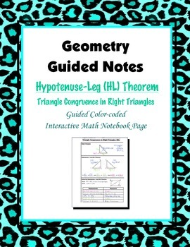 Geometry Guided Interactive Math Notebook Page: Congruent Triangles, (HL)