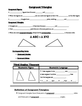 Geometry Guided Interactive Math Notebook Page: Congruent Triangles Introduction
