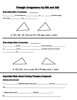 Geometry Guided Interactive Math Notebook Page: Congruent Triangles, (SSS, SAS)