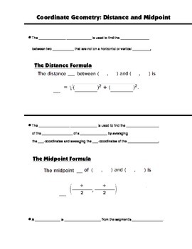 Geometry Guided Interactive Math Notebook Page: Distance and Midpoint