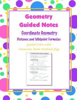 Geometry Guided Interactive Math Notebook Page: Distance a