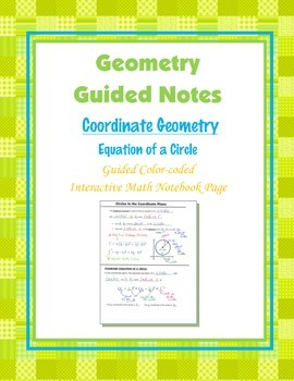 Geometry Guided Interactive Math Notebook Page: Equation o