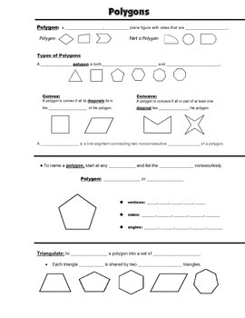 Geometry Guided Interactive Math Notebook Page: Introduction to Polygons
