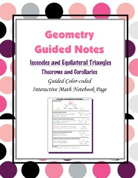 Geometry Guided Interactive Math Notebook Page: Isosceles