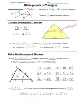 Geometry Guided Interactive Math Notebook Page: Midsegments of Triangles