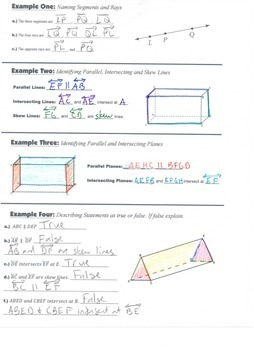 Geometry Guided Interactive Math Notebook Page: Parallel, Intersecting, Skew