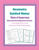 Geometry Guided Interactive Math Notebook Page: Points of Concurrency