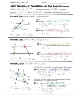 Geometry Guided Interactive Math Notebook Page: Proving: Prop. of Parallel Lines