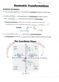 Geometry Guided Interactive Math Notebook Page: Rigid Transformations