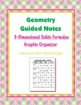 Geometry Guided Interactive Math Notebook Page: Solid Formulas Graphic Organizer