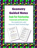 Geometry Guided Interactive Math Notebook Page: Angle Pair Relationships