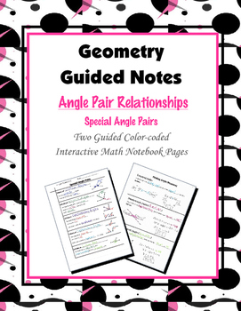 Geometry Guided Interactive Math Notebook Page: Special Angle Pairs