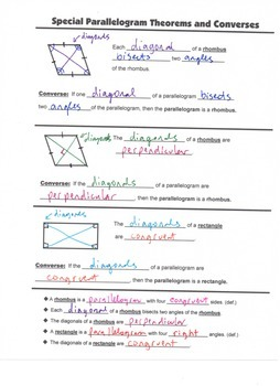 Geometry Guided Interactive Math Notebook Page: Special Parallelograms