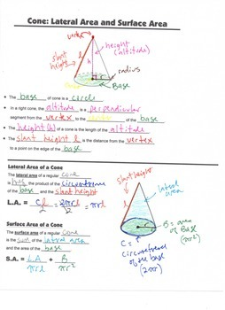 Geometry Guided Interactive Math Notebook Page: Surface Area: Cones and Pyramids