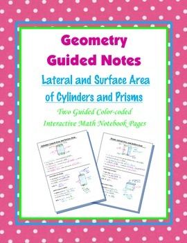 Geometry Guided Interactive Math Notebook Page: Surface Ar