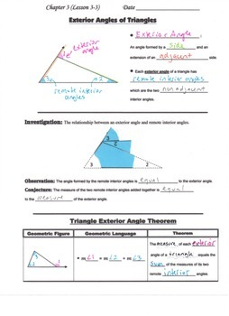 Geometry Guided Interactive Math Notebook Page: Triangle Exterior Angle Theorem