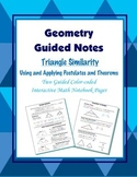 Geometry Guided Interactive Math Notebook Page: Triangle Similarity
