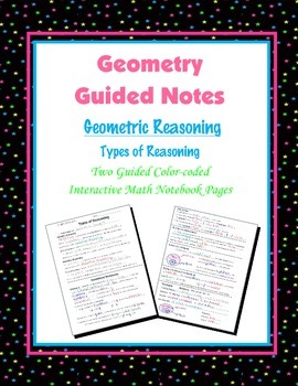 Geometry Guided Interactive Math Notebook Page: Types of Reasoning