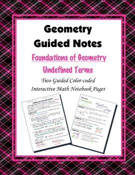 Geometry Guided Interactive Math Notebook Page: Undefined Terms