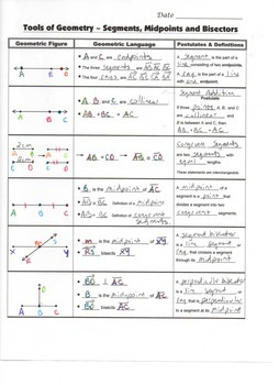Geometry Guided Interactive Math Notebook Page: Segments, Angles, Bisectors