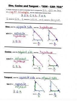 Geometry Guided Interactive Math Notebook Page: Intro to Trigonometric Ratios