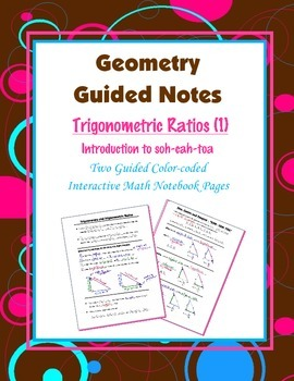 Geometry Guided Interactive Math Notebook Page: Intro to T